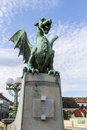 Dragon bridge statue at the end of the in ljubljana Royalty Free Stock Images