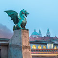 Dragon bridge zmajski most ljubljana slovenia famous symbol of capital of europe Royalty Free Stock Photos