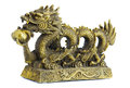 Dragon bronze figurine of with pearl isolated on white Stock Image