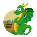 Dragon cartoon illustration of a green guarding a treasure isolated on a white background Royalty Free Stock Photography