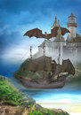 Dragon castle dragons guarded an old a sits on the roof from the Royalty Free Stock Photo