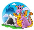 Dragon with cave and castle 1 Stock Image