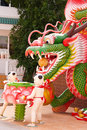 Dragon and child art in temple this is this place is east of thailand Stock Photos