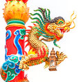 Dragon in a chinese temple colorful statue on china Royalty Free Stock Photo