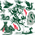 Dragon collection clip art of dragons and themed objects Royalty Free Stock Image