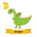 Dragon. D letter. Cute children animal alphabet in vector. Funny Royalty Free Stock Photo