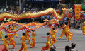 Dragon dance in China Stock Photo