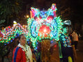 Dragon dance head in vegetarian festival Royalty Free Stock Photo