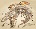 Dragon Doodle  Tattoo Vector Royalty Free Stock Photo