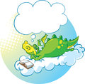 Dragon the dreamer vector illustration of reading book on clouds Stock Images