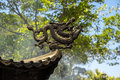 Dragon element of the roof of po lin monastery lantau island hong kong Royalty Free Stock Images