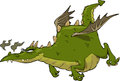 Dragon in flight green funny Royalty Free Stock Photos