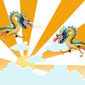 Dragon flying with sunset background Stock Images