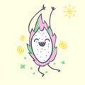Dragon fruit cartoon character, cute kawaii pitaya, illustration