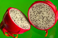 Dragon fruit on green Royalty Free Stock Image