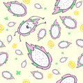 Dragon fruit seamless pattern, cartoon character, cute kawaii pitaya, vector illustration Royalty Free Stock Photo