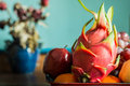 Dragon fruit on a tray of food. Royalty Free Stock Photo