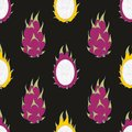 Dragon fruit. Vector seamless pattern on a black background