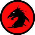 Dragon head on red circle background.