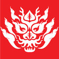 Dragon head tattoo design front view of chinese base on thai pattern the pattern is white on red background Royalty Free Stock Photos