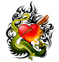 Dragon and heart tattoo design Royalty Free Stock Photo