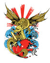 Dragon heart vector illustration ideal for printing on apparel clothing Stock Photo