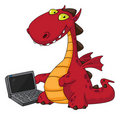Dragon and laptop Stock Photo