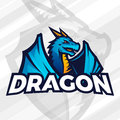Dragon logo concept. Sport mascot design. Asian beast sign, School team vector. Royalty Free Stock Photo