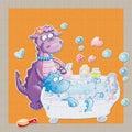 Dragon makes bath time, Mom washes Royalty Free Stock Photo