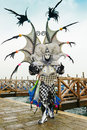 Dragon masked man at venice carnival Stock Photography