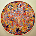 Dragon medallion ming dynasty silk metallic thread tapestry kesi dragon medallion emperors official portraits often decorated robe Stock Images