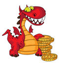 Dragon and money Royalty Free Stock Photo