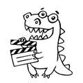 Dragon with movie clapper board. Vector illustration.