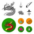 Dragon with mustache, Seoul tower, national musical instrument, hibiscus flower. South Korea set collection icons in Royalty Free Stock Photo