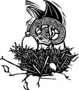 Dragon nest woodcut style image of a sleeping in a with eggs Royalty Free Stock Photos