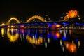 Dragon river bridge rong bridge in da nang vietnam Stock Image