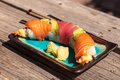 Dragon roll sushi with salmon Royalty Free Stock Photo