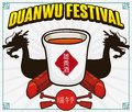 Dragon`s Silhouette and Realgar Wine Cup for Duanwu Festival, Vector Illustration
