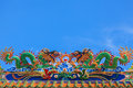 Dragon sculpture on roof of temple in thailand Royalty Free Stock Photo