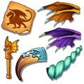 Dragon Set - Wings, Picture On Parchment. Magic Horn And Golden Rod With Dragon Figure. Magic Collection Vector Isolated