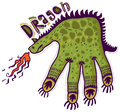 Dragon shaped hand breathing fire Royalty Free Stock Photo