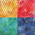 Dragon skin scales pattern texture background four colors set Royalty Free Stock Photo
