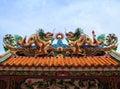 Dragon statue chinese tempeltak Royaltyfria Bilder