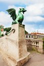 Dragon statue in ljubljana one of the symbol of capital city slovenia Royalty Free Stock Image