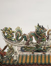 Dragon statue on roof with sky background. Royalty Free Stock Photo