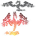 Dragon tattoo imposing stylized celtic knot fire illustration Stock Photography