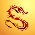 Dragon tattoo red in tribal art style Stock Image
