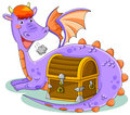 Dragon with treasure cute cartoon keeping a chest Stock Photos