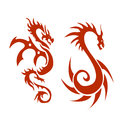 Dragon two dragons in parallel to one another Stock Photo