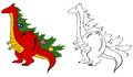 Dragon vector illustration of walking with christmas tree in the back Royalty Free Stock Photo